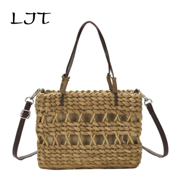 LJT Holiday Beach Straw Bags Women Summer Handbag Rattan Handmade Bali Woven Hollow Out Shoulder Bag Women Shopping Tote Bag