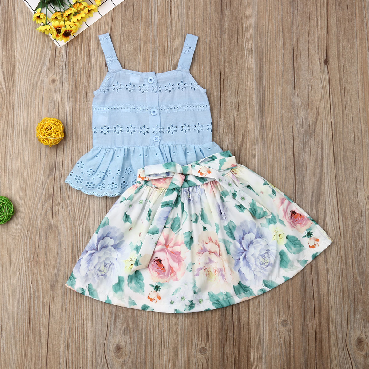 Pudcoco Summer Toddler Baby Girl Clothes Strap Ruffle Cotton Tops Flower Print Short Skirt 2Pcs Outfits Summer Clothes
