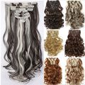 8Pcs/Set Clip On Hair Extension 60cm 24inch Natural Hairpieces Hair Style Wavy Curly Synthetic Clip In Hair Extensions