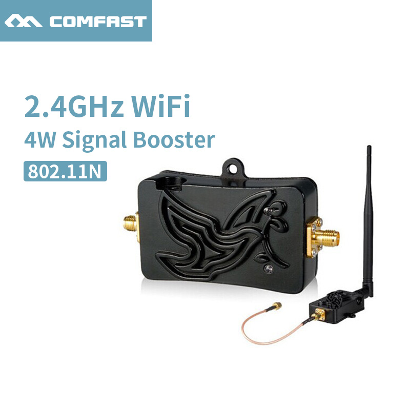 4W 4000mW 802.11b/g/n Wifi Wireless Amplifier Router 2.4Ghz WLAN Comfast Bluetooth Signal Booster With Antenna Signal Amplifier