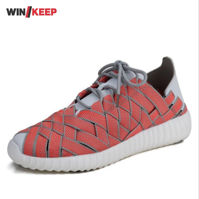 New Woman Outdoor Hiking Shoes Lace Up Climbing Mountaining Camping For Woman Weave Upstream Shoes lovers Fishing Free Shipping