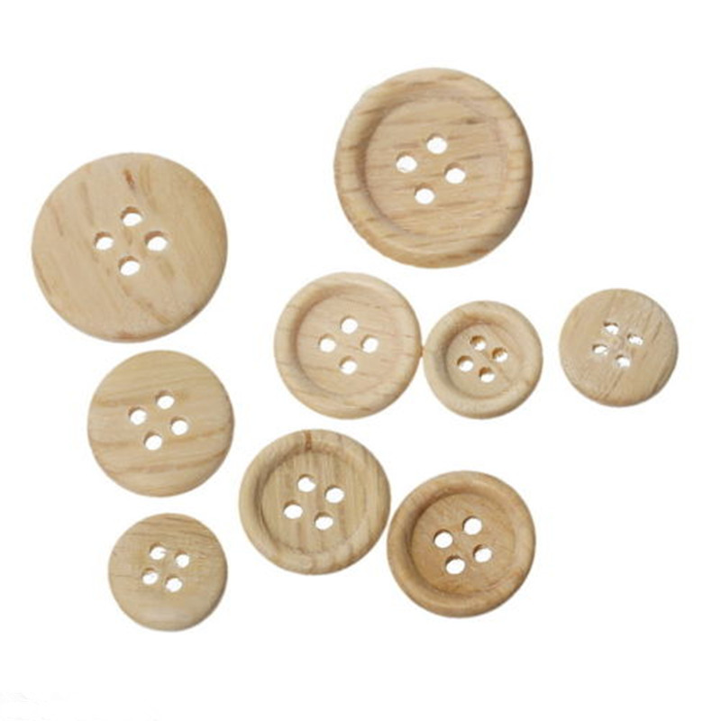 Beige Tan 20mm 4 Hole Buttons For Sewing Knitting Jacket Coat Set of 10