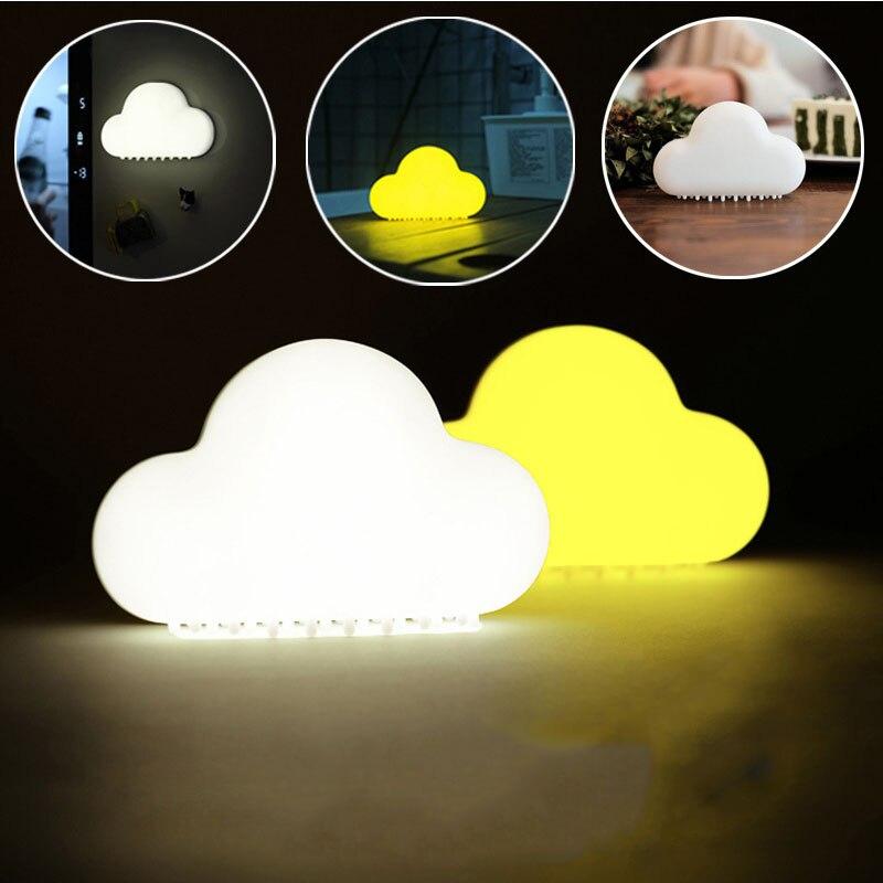Nuage Nuit Lumière Sans Fil Mur Lampes LED USB Voix Capteur Lampe Nouveauté Enfants Chambre Décor Mignon Rechargeable USB LED
