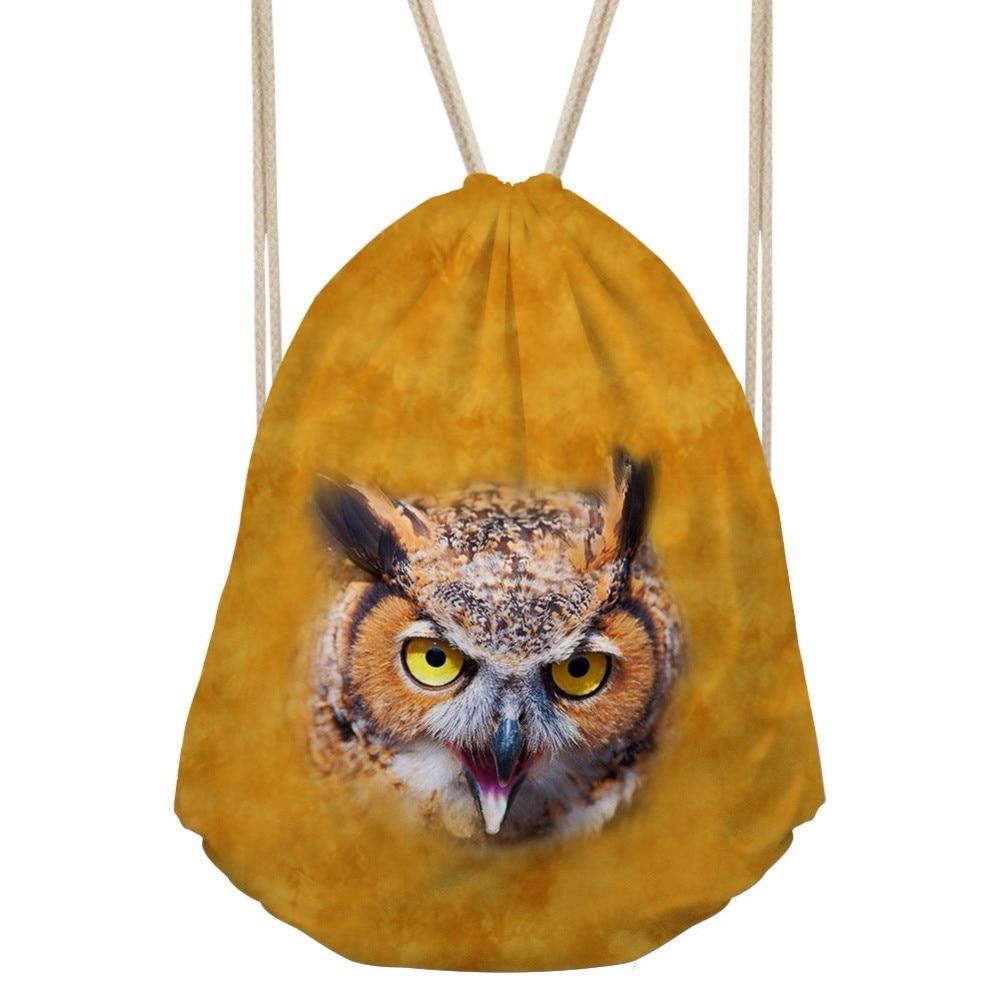 Cool 3D Amimal Owl Tiger Lion Head Print Men Drawstrings Bags Fashion Storage Bag for Teenage