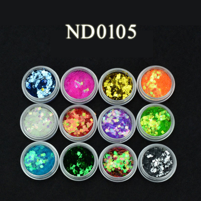 Qt Nail Gliter Acrylic  12 Colors Shiny Nail Flours
