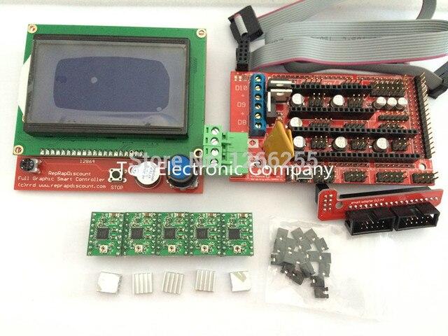 5pcs A4988 Stepper Driver Module with Heatsink + 1pcs RAMPS 1.4 Controller +RAMPS1.4 LCD 12864 LCD for 3D Printer Reprap