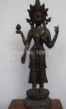 001662 de Cobre de Bronce Cuatro armado Avalokitesvara Kwan-yin de GuanYin Diosa Estatua de Buda