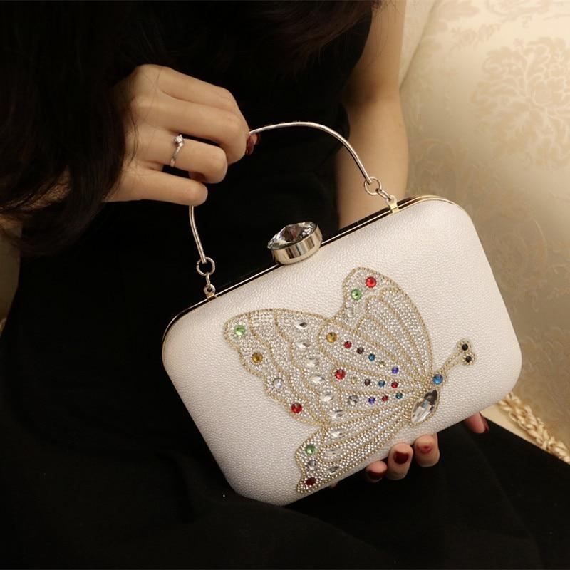 Elegante Mujer Bolsos de Tarde Embragues Mariposa Cristales Embrague Monedero Mo