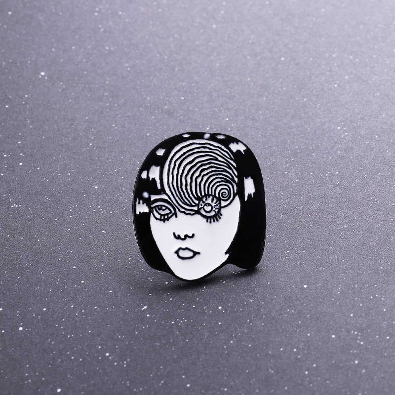 Qihe Perhiasan Mata Tomie Pin Junji Ito Tomie Enamel Pin Horrow Komik Wajah Lencana Bros Pin Up Kerah Pin
