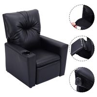 Giantex Kids Sofa Chair Modern Manual Recliner Leather Ergonomic Lounge with Cup Holder High Quality Children Gift HW54197BK