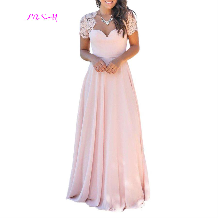 Elegant Lace Chiffon Long Prom Dress Sexy Open Back Formal Gowns Sweetheart Short Sleeves Pink A-Line Bridesmaid Dresses 2019