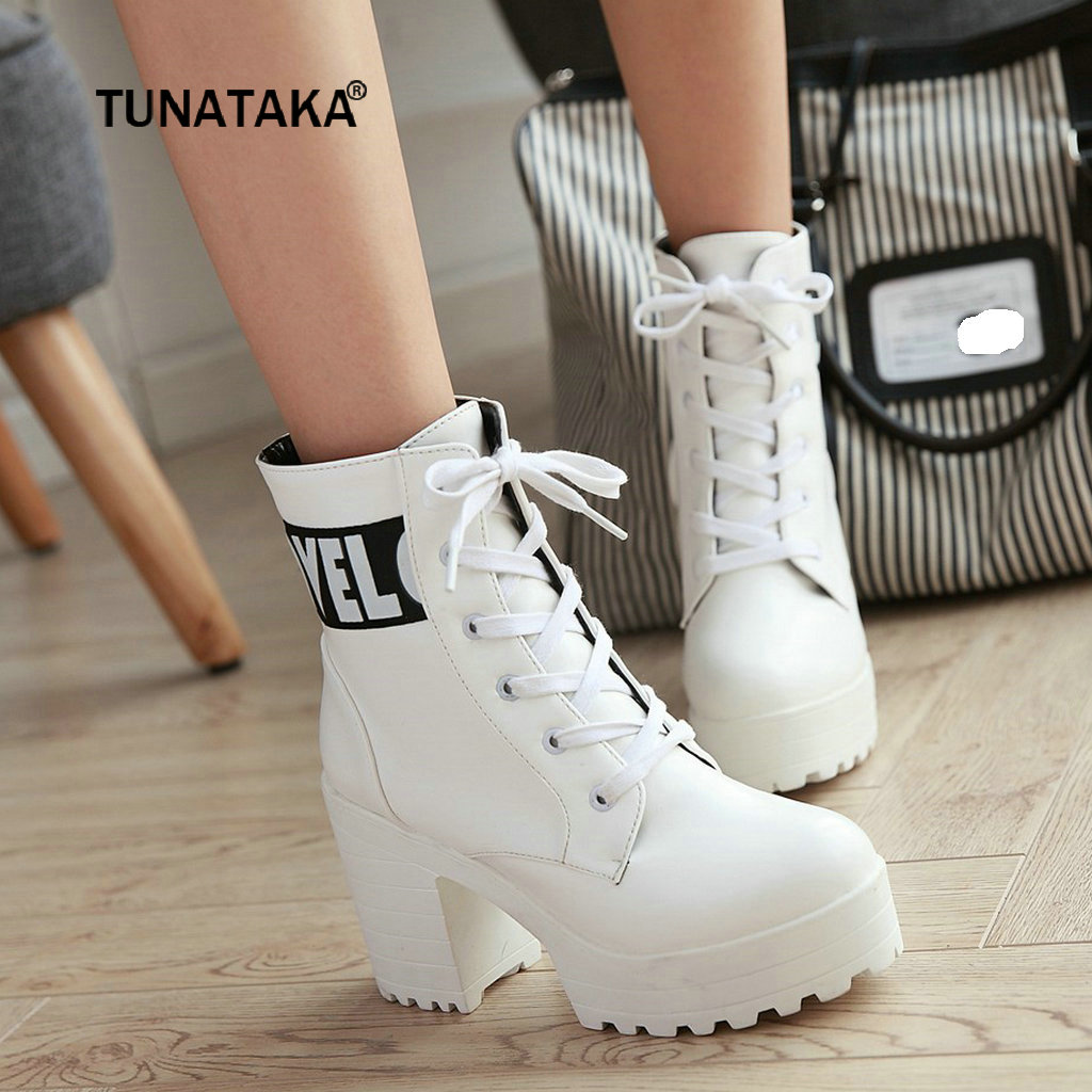 Platform Heels Women Ankle Boots Soft Leather Thick high Heel Platform Boots Winter Autumn Boots Warm Fur Big Size 2018 New