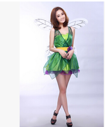 free shipping  halloween costumes for women adult sexy fairy pixie tinkerbell costume fancy dress fancydress angel