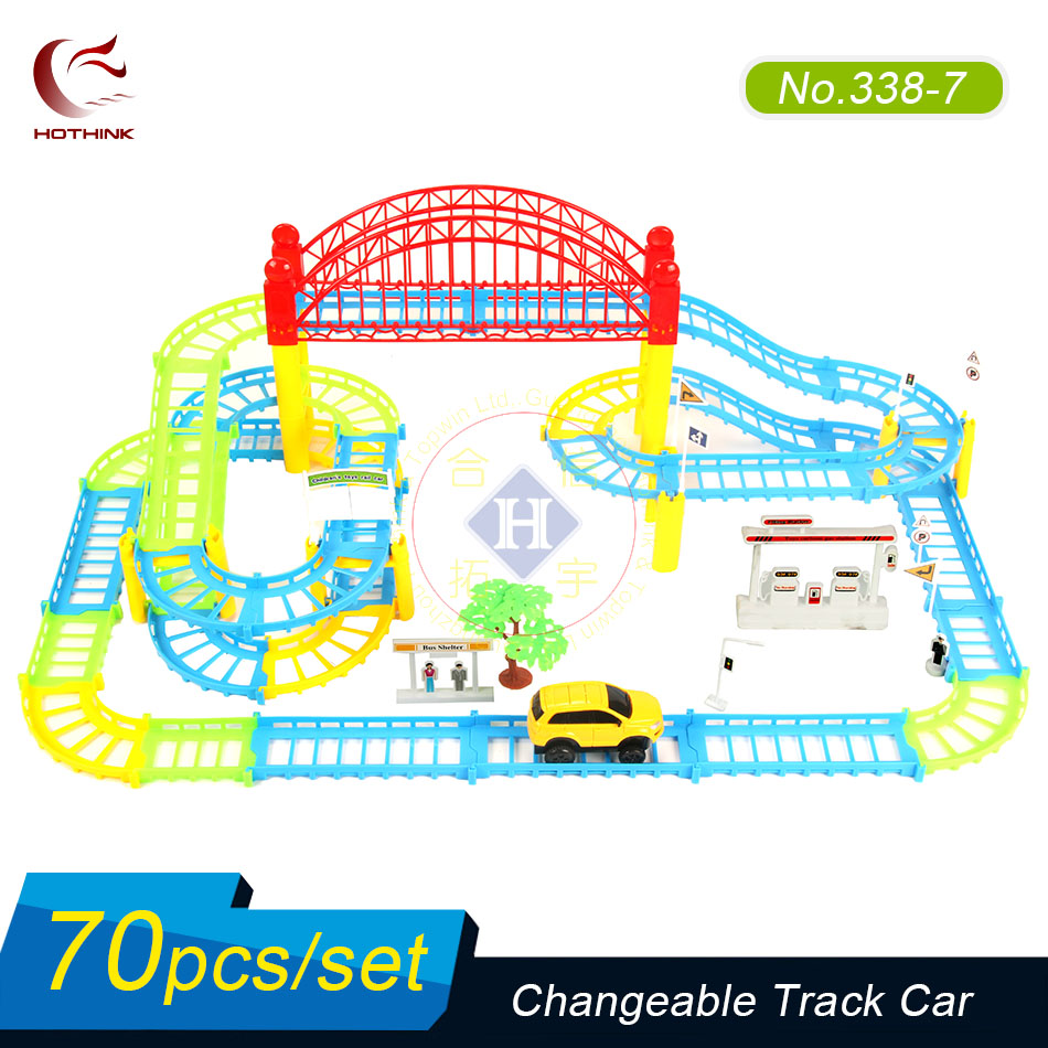 Hothink 70 pcs/set Electric Rail Track Car Train Model Bridge Railway Highway Overpass Racing Road Toy Building Sets for Kids