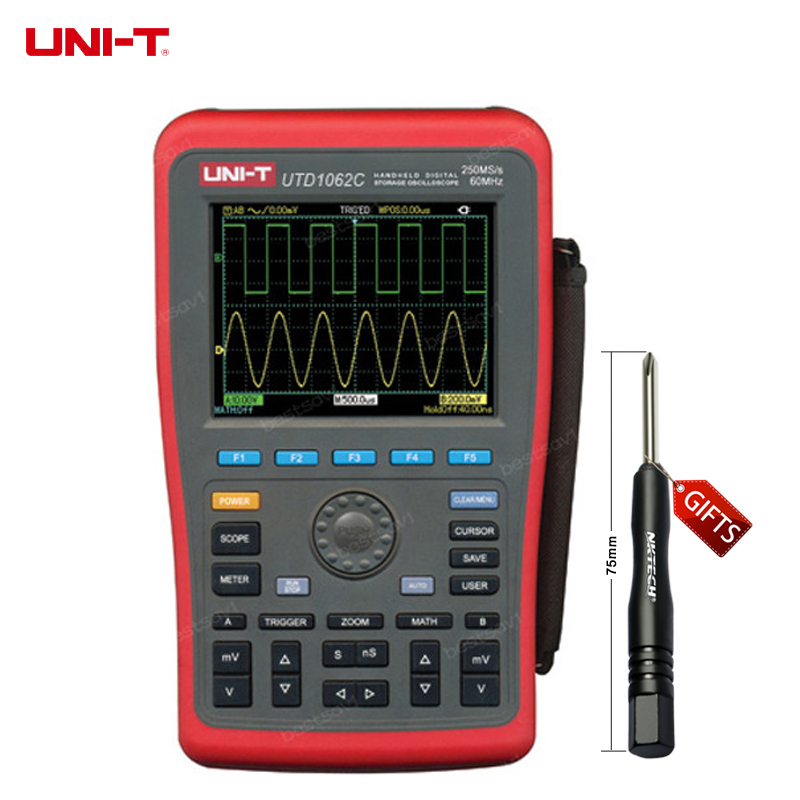 DHL Free Shipping UNI-T UTD1062C 2Channels 60MHz 250MS/s Handheld Portable Digital Multimeter Oscilloscope Oscillograph uni t ut81b handheld digital multimeter oscilloscope 8 mhz scope 40ms s oscilloscope scopemeter register shipping