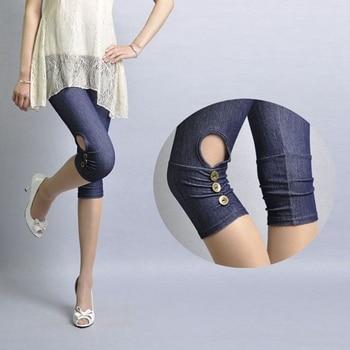 lady summer imitation denim short pants women knee length patchwork bow floral lace capris slim fitted pencil fake jeans 1