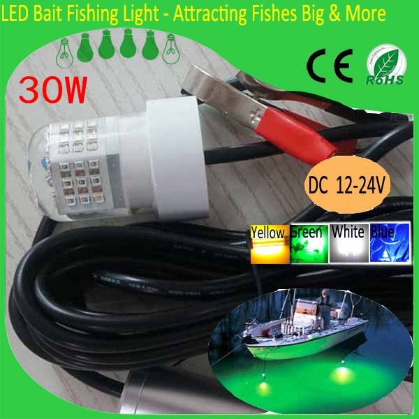 30W 12V LED Green Underwater Fishing Light Lamp Fishing Boat Light Night Fishing Lure Lights for Attcating Fish eyoyo 104 led 2200lm green underwater night fishing light lamp fishing lure lights