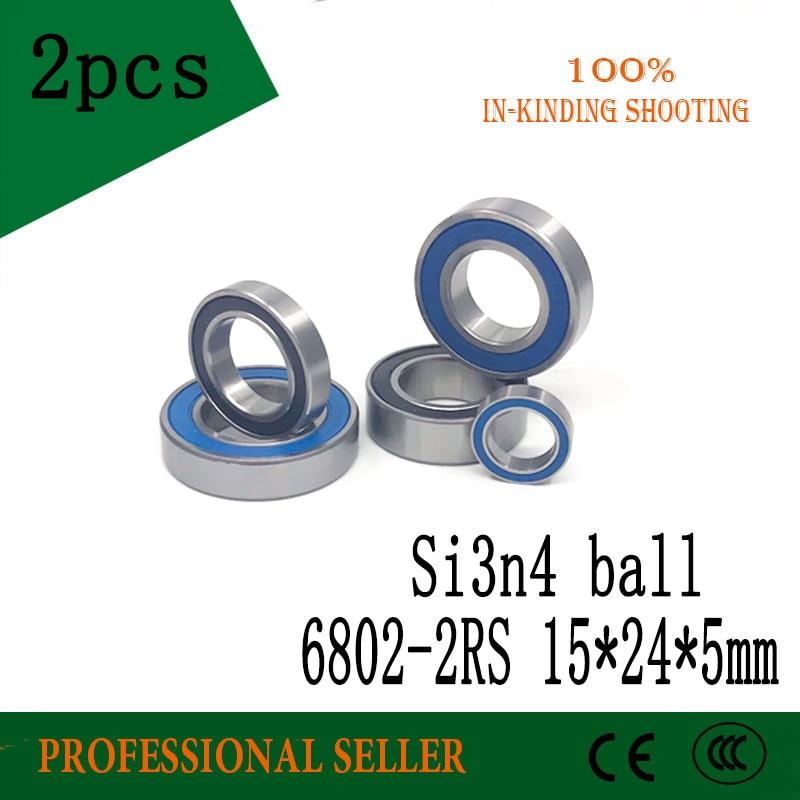 Free Shippng 2PCS 6802 2RS Si3N4 Hybrid Ceramic Ball Bearing Rubber Sealed 61802 Bike Parts 15x24x5mm 6802 Rs