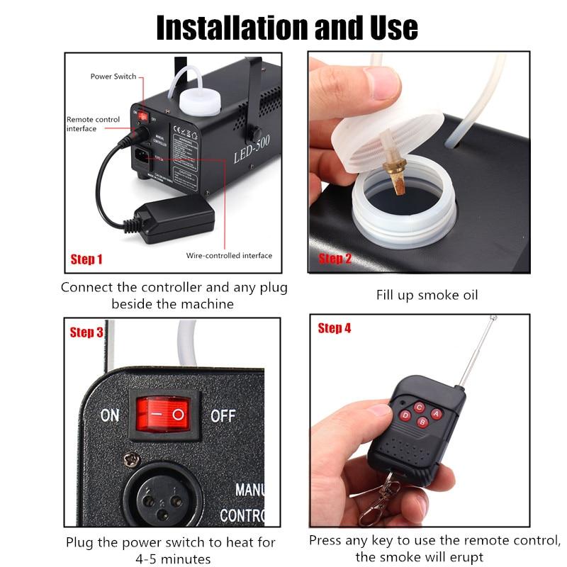 High Quality Wireless Control 500W Smoke Machine/Mini LED Fog Machine/Smoke Ejector/Professional Fogger With RGB 3X3W LED Lights