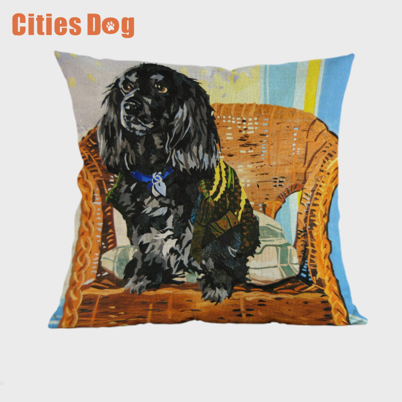 Animal dog Cushion Cover English Cocker Spaniel Throw Pillow Cove Decorative Pillows Cushions Covers for Sofa Car Decor Cojines