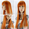 Fine Fair lady party new have bangs full wig red mix gold color straight long wigs WHL0310