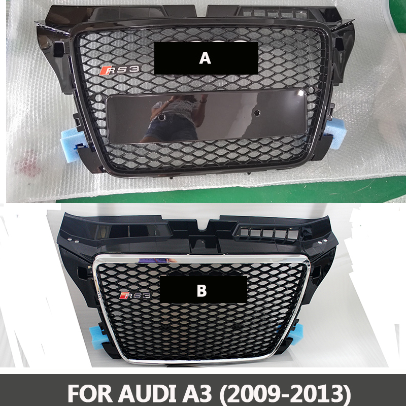 2009-2013 A3 TO RS3 style ABS chromed black front bumper grille center grill racing grills Fit for Audi A3 brand new a3 rs3 abs oem style auto car front bumper mesh grills with camera hole for audi fit for a3 rs3 2013 2014