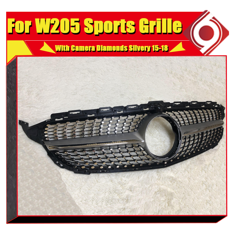 For Mercedes Benz W205 Sports Grille grll Diamond Style ABS Silver With Camera C class C180 C200 C250 C63 Look grlls 2015 2018 in Racing Grills from Automobiles Motorcycles