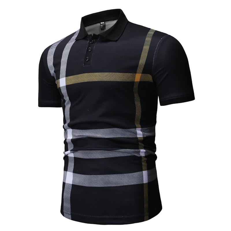WSGYJ   Polo   Shirt Men 2019 Summer Casual Plaid Print Turn Down Collar Male Short Sleeve   Polo   Shirts White Men's Clothing