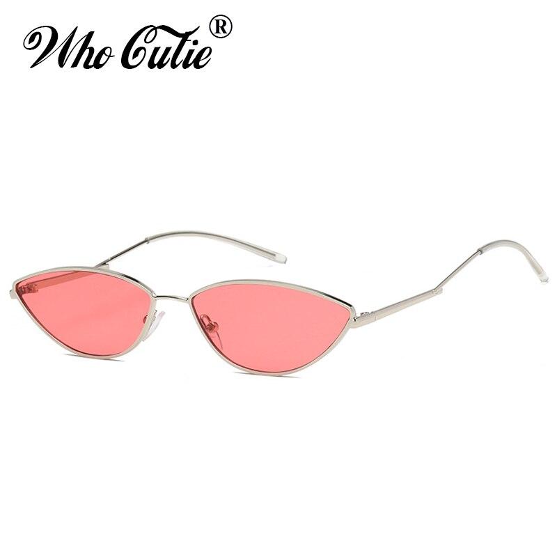 WHO CUTIE 2018 Slim Cat Eye Retro Sunglasses Women Brand Designer 90s Vintage Pink Yellow Red Lens Tiny Sun Glasses Shades OM613