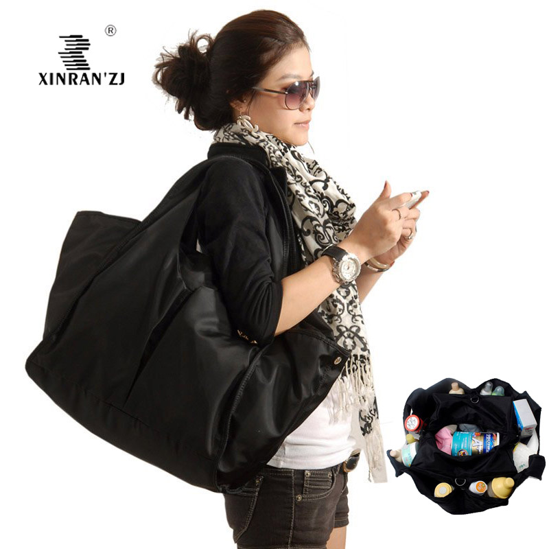 Fashion large capacity black nylon multifunctional special purpose mother nappy bag baby diaper changing bags - mummy and children products Store store