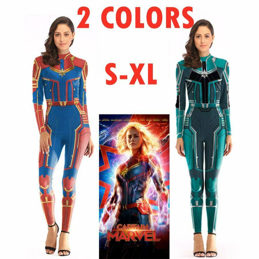 3D Print Women Girls Movie Version Superhero Captain Marvel Carol Danvers Halloween Costume Cosplay Zentai Bodysuit Jumpsuit