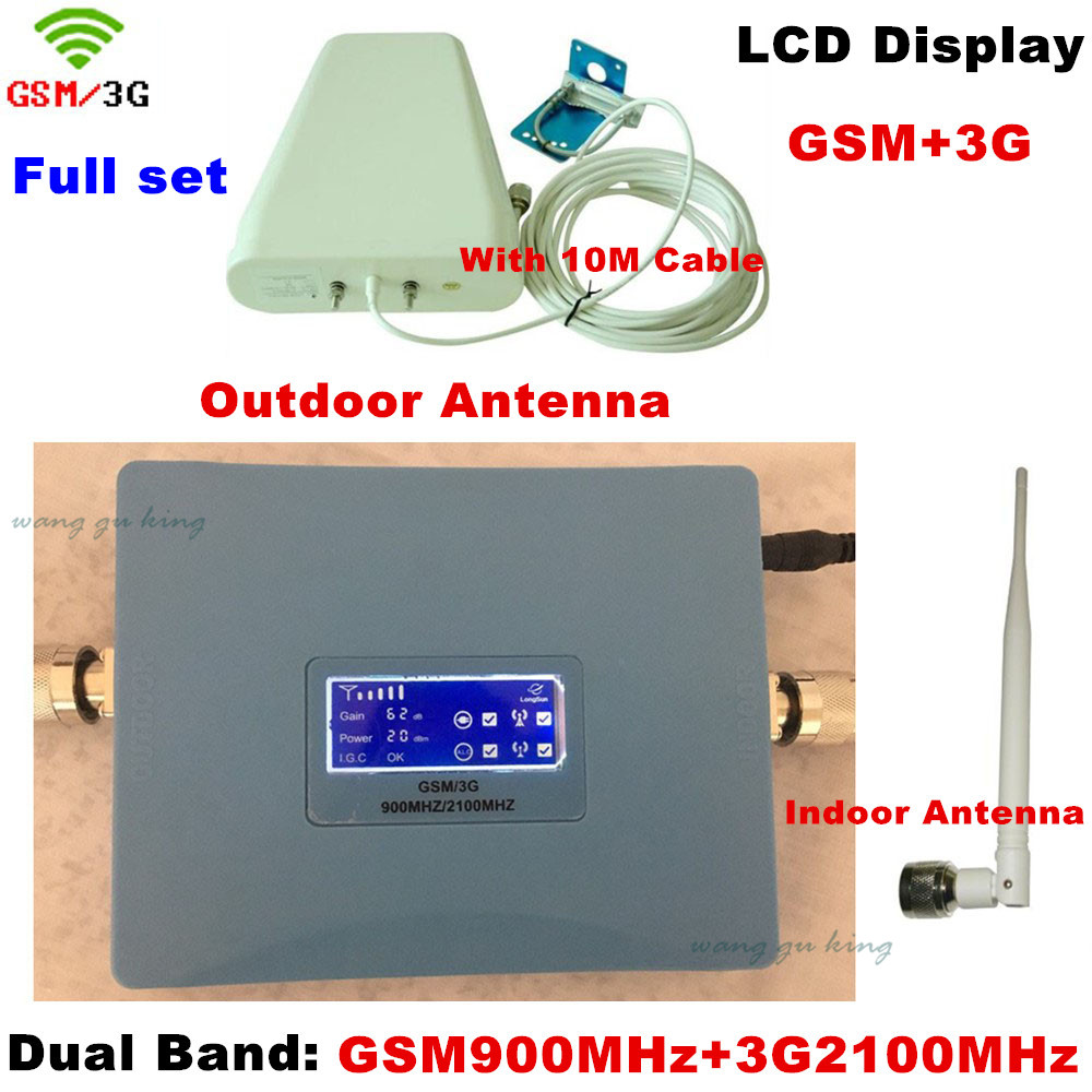 Dual Band LCD Display GSM 3G UMTS Cellular Amplifier GSM 900 Repeater 3G 2100 Cell Phone Signal Booster GSM WCDMA Repeater KitDual Band LCD Display GSM 3G UMTS Cellular Amplifier GSM 900 Repeater 3G 2100 Cell Phone Signal Booster GSM WCDMA Repeater Kit