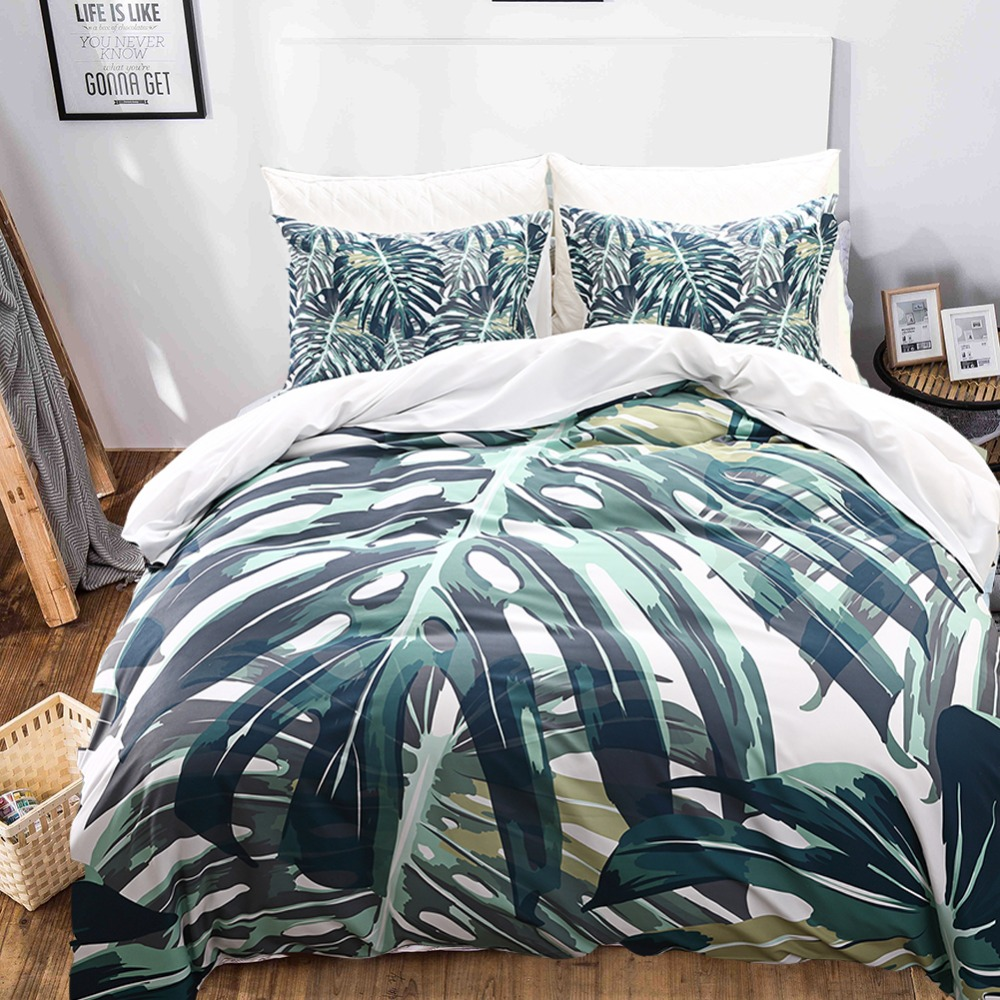 Tropical Plants 3D Printed Bedding Sets Pillowcases Duvet Covers For Home Dorm BS116 Bed Set Twin Queen King Size 3 pcs/setTropical Plants 3D Printed Bedding Sets Pillowcases Duvet Covers For Home Dorm BS116 Bed Set Twin Queen King Size 3 pcs/set