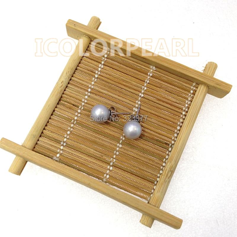 WEICOLOR haute qualité 7-8mm rond gris/rose/blanc véritable naturel boucles d'oreilles perle avec 925 broches en argent Sterling.
