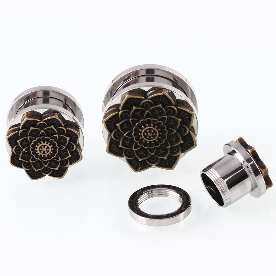 2Pcs Lotus Antique Bronze Flower Ear Plugs and Tunnel Stainless Steel Piercing Ear Expander Stretcher Flesh Tunnel Body Jewelry