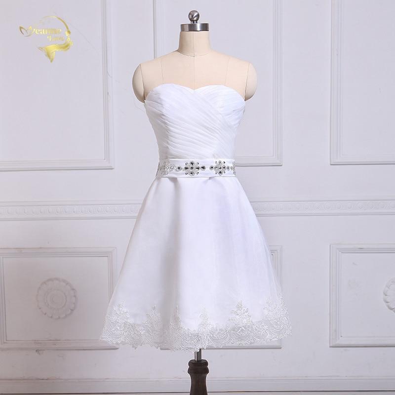 Jeanne Love Organza genou longueur robes de Cocktail 2019 ceinture avec cristaux dentelle blanc chérie robe de soirée grande taille JO002942
