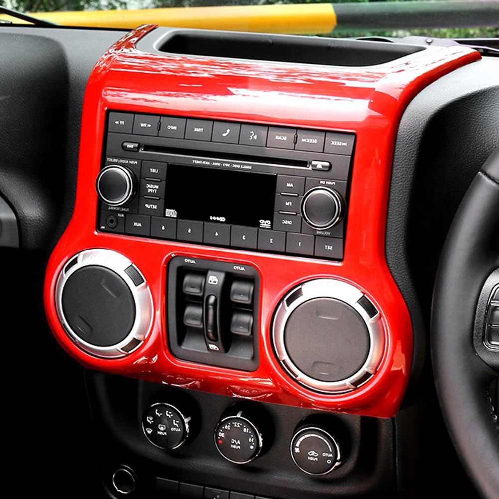 Bolaxin Interior Accessories Trim Abs Center Dash Console Cover Jeep Decoration For Wrangler 2011 2016 Silverredblack In Mouldings From