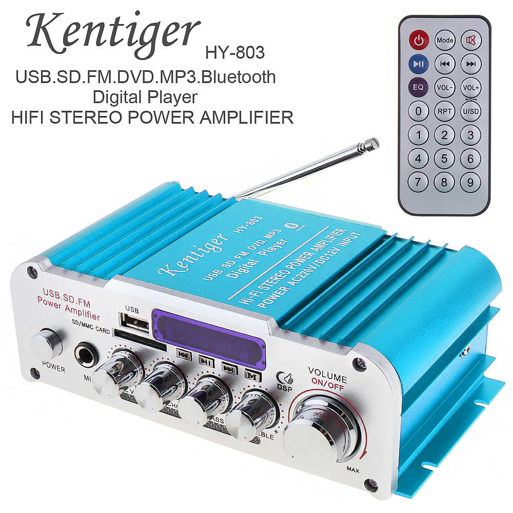 DC12V/AC220V/AC110V 2CH HI FI Bluetooth Car Audio Power Amplifier FM Radio Player Support SD / USB / DVD / MP3 Input for Car