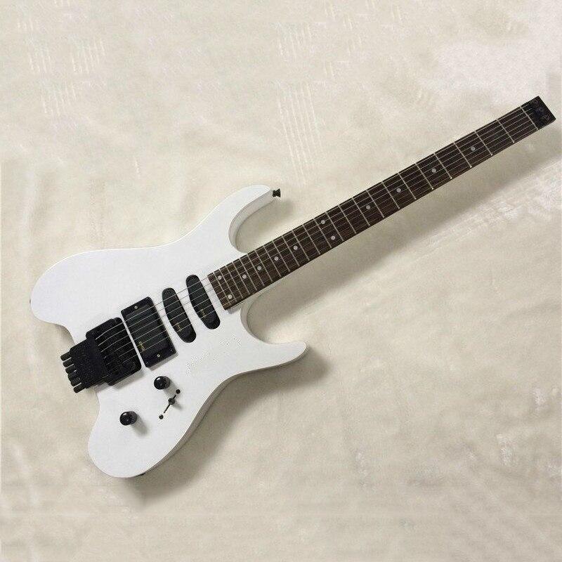 Split White Headless Double Rocking Guitar, Rose Wood Fingerboard, Single Double Picker, Linden BodySplit White Headless Double Rocking Guitar, Rose Wood Fingerboard, Single Double Picker, Linden Body