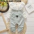 Autumn Toddler baby girl clothes sets cartoon Ruffled kids t-shirt+bib pants overalls newborn suit girls clothing sets tracksuit