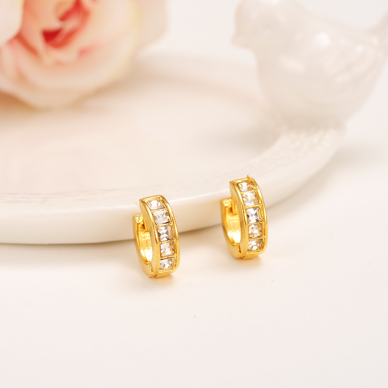 Bangrui Luxury Lovely Kid Baby Little Girls Jewellery Security Safety CZ Princess Round Gold Color Huggies earrings Jewelry