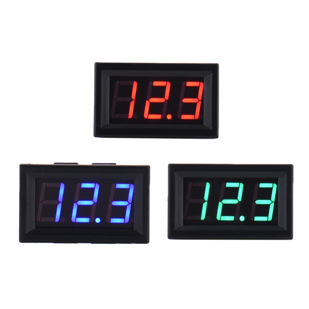 High Quality LED DC Digital Voltmeter Car auto Home Use Voltage Display 2 Wires Voltage Display Red support wholesale yb27a led ac 60 300v digital voltmeter home use voltage display w 2 wires
