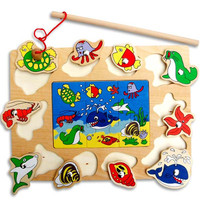 Cute Creative Kid Wooden Magnetic Fishing Game 3D Jigsaw Puzzle Toy Children Educational Puzzles Toy Gift