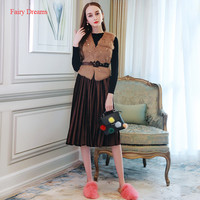 Fairy Dreams 3 Piece Set Women Faux Fur Vest Jackets Sweater Pullover And Pleated Skirt 2017