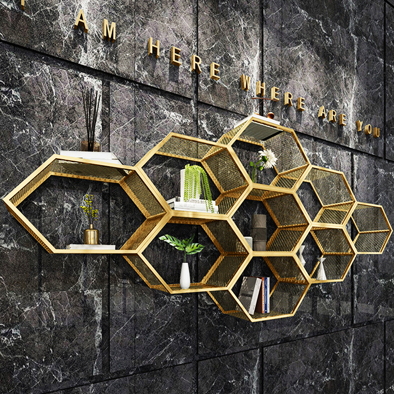 Creative Golden Built-up Diy Wall Mounted Unit Bookcase Row Closet Wardrobe Dinning Living Room Office Hotel Display Furniture