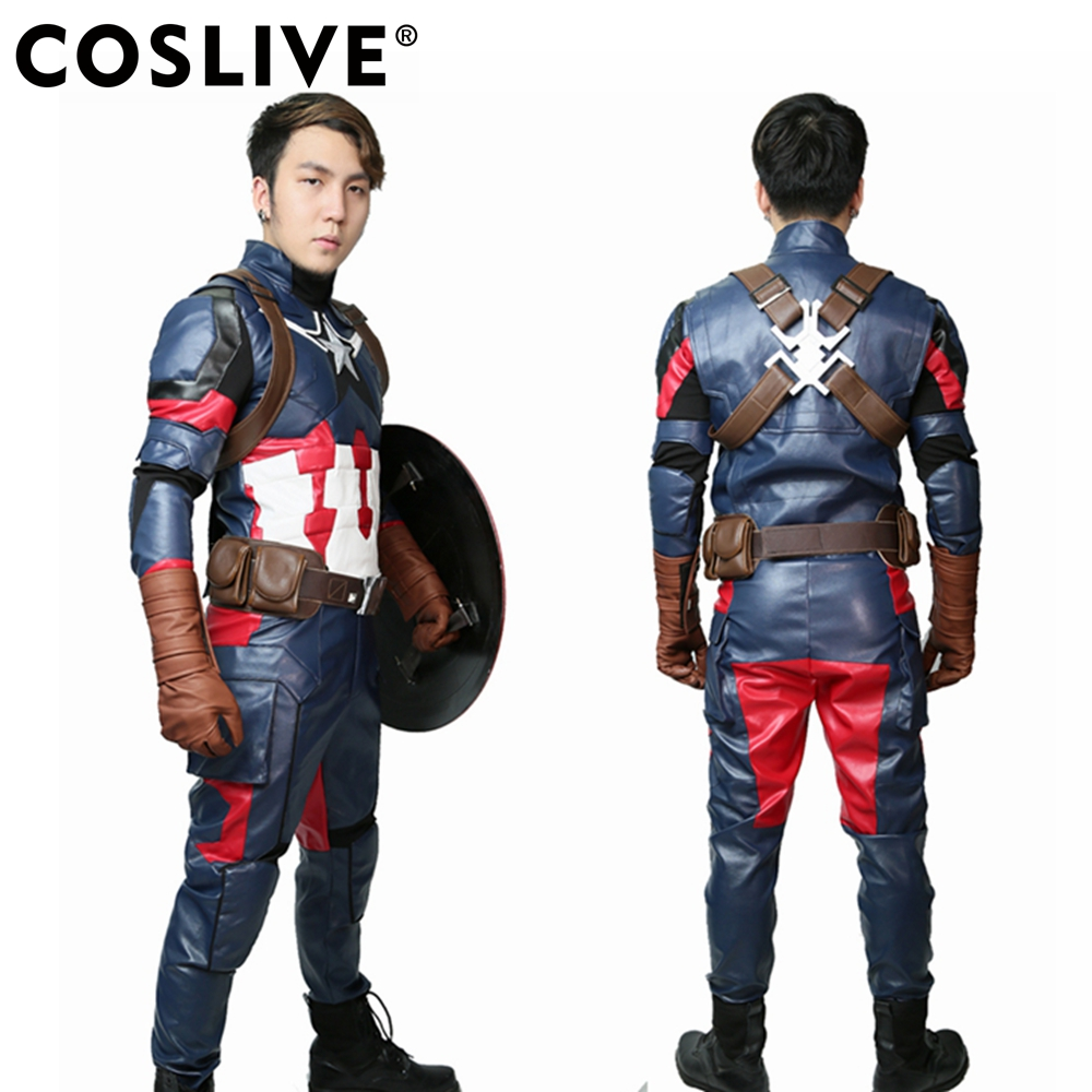 Coslive Steve Rogers Captain America Outfit Costume Super-Héros COSplay Bataille Costume Props Réplique Captain America Cosplay Costume
