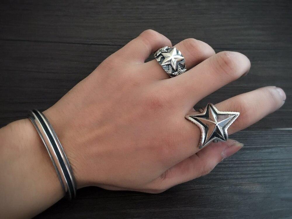 Moda superior plata 925 Simple brazalete brazaletes y pulsera hombres 100% sólida plata esterlina 925 Real para hombre joyería Vintage estilo indio - 2