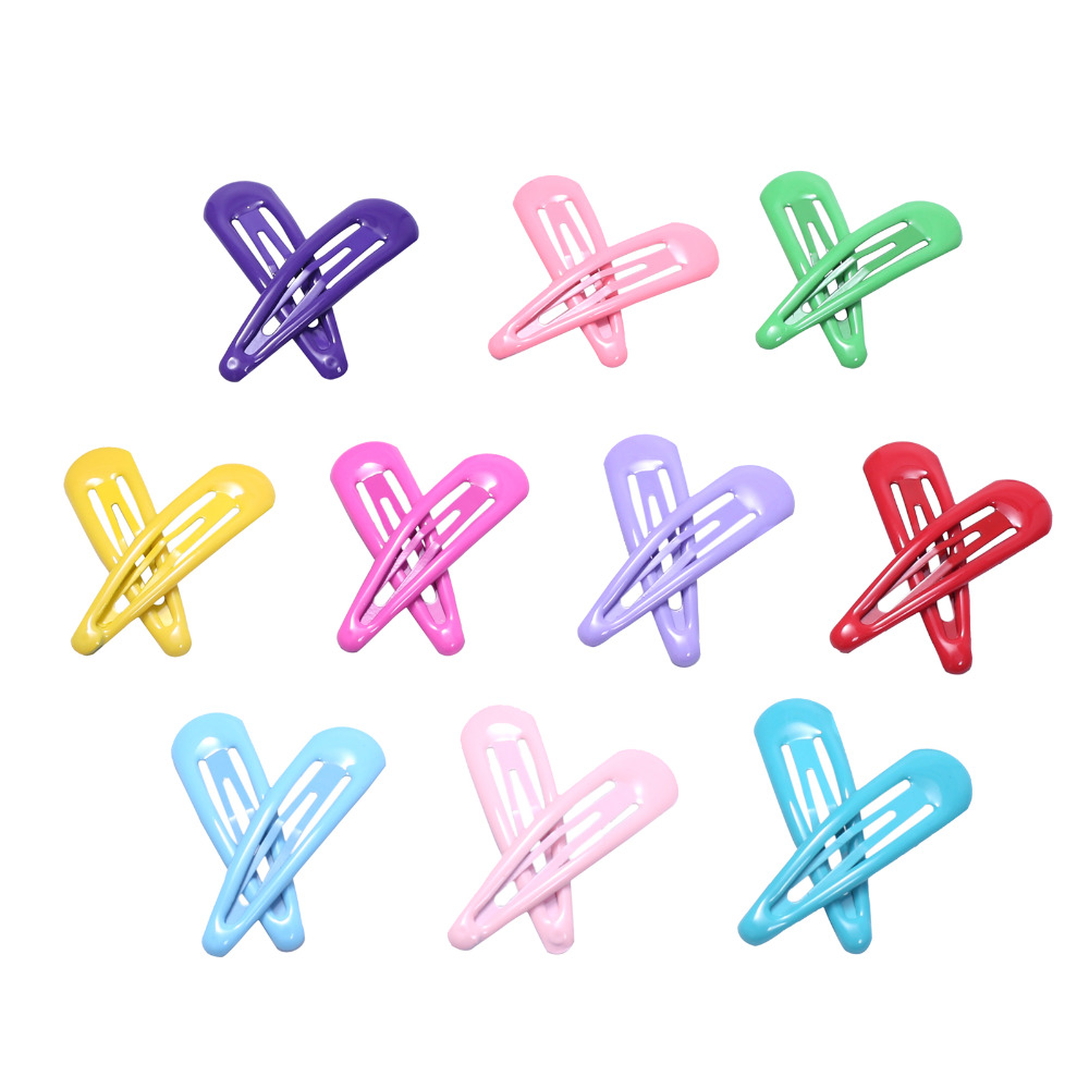 20pcs Baby Snap Hair Clip Kids Hairpin Solid Color Hair Styling Accessories For Girls Children Metal Barrette Women Hairgrip 5cm