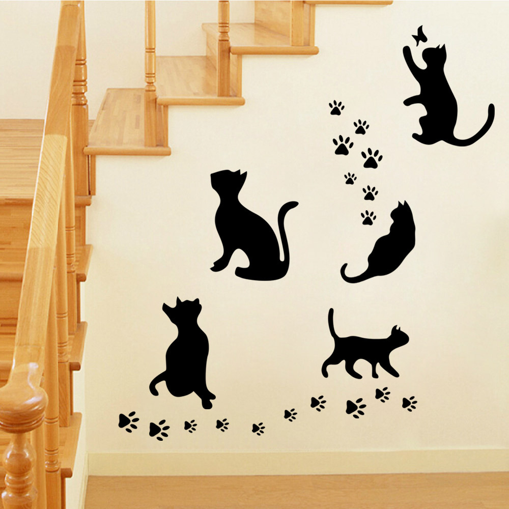 Wall stickers cat - 9302 5 Pcs Big Cat Set Hot Selling Removable Wall Sticker Black Cat Home Decoration Stickers