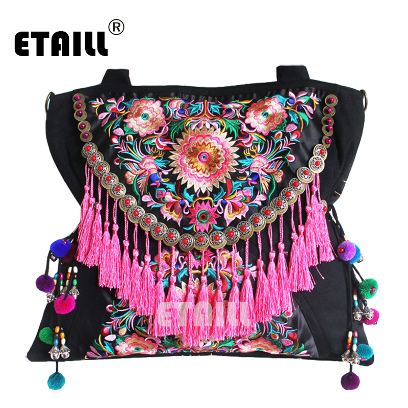 ФОТО Double Faced Chinese Ethnic Embroidery Bag Vintage Hmong Embroidered Famous Brand Wwomen Shoulder Bags Sac Besace Ethnique Brode
